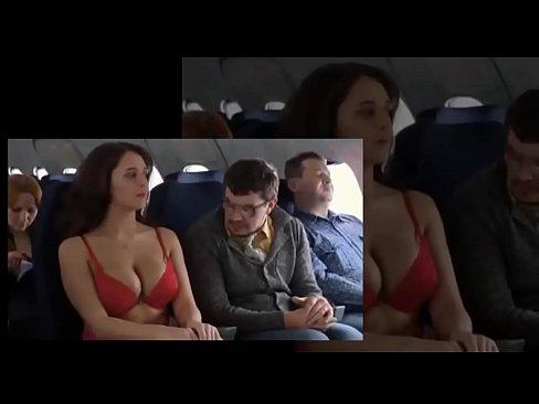 peituda no avião toda excitada
